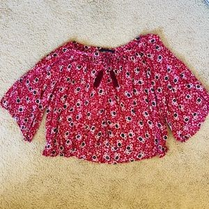 ZARA Red Floral Peasant Top Boho Size Small